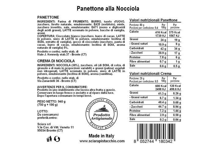 Tabella nutrizionale Panettone alla Nocciola con Crema