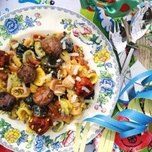 ricetta orecchiette alle sette polpette con coriandoli di parmigiano e pistacchio